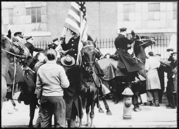 Striking workers clash with mounted cops outside an electrical factory in Philadelphia in 1946