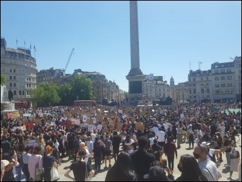 Solidarity protest on 31 May in Trafalgar Square, London, with protests in the United States against the police killing of George Floyd