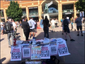 Coventry Socialist Party stall on a socially-distanced protest