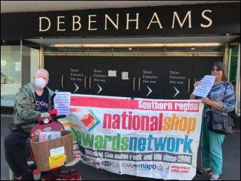 Protesting outside Debenhams in Southampton, June 2020