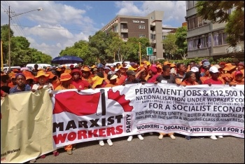 EPWP workers mobilised behind the banner of the Marxist Workers Party (CWI South Africa), photo by Marxist Workers Party