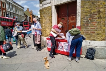 Selling the Socialist in Hackney, 20.6.20, photo by Chris Newby