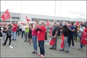 Nissan workers protesting against attacks on pensions, Sunderland, July 2020, photo by Elaine Brunskill