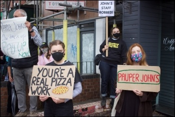 Protest against wage theft by pizza chain Papa John's 25 July, photo Sheffield Needs a Pay Rise