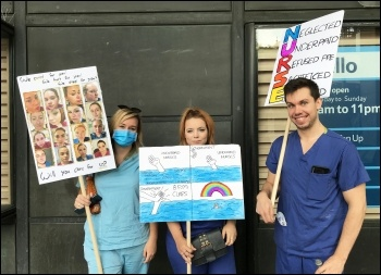NHS workers campaigning, 8th August 2020, London, photo Judy