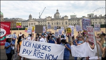 Demanding a 15% pay rise for NHS workers, 8th August 2020, London