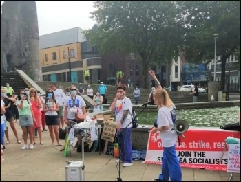 Demanding a 15% pay rise for NHS workers, 8th August 2020, Swansea