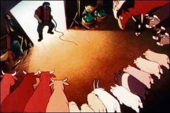 The revolutionary animals face down the farmer in the 1954 Halas and Batchelor adaptation of Animal Farm