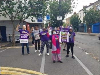 Tower Hamlets council workers strike August 2020, photo Isai Priya