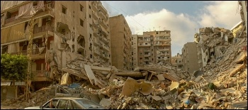Damage to buildings and apartments in Beirut after the massive explosion in the city's port on 4 August 2020. Many other areas of the capital were reduced to rubble