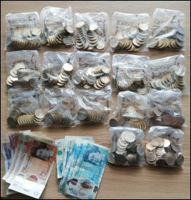 The contents of Vi's 'subs jar' - collected in just four months