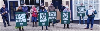 NUJ picket line at the Redditch Standard newspaper August 2020, photo Birmingham SP