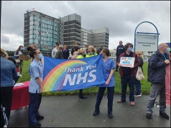 NHS workers protest outside Aintree hospital for a pay rise on 26 August, photo Liverpool SP