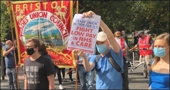 Saturday 12 September demo in Bristol in solidarity with NHS & care workers demanding increased pay, photo Mike Luff