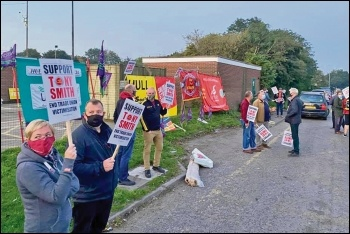 Supporters of victimised Unison rep Tony Smith outside his appeal hearing, 15.9.20, photo by Hull TUC