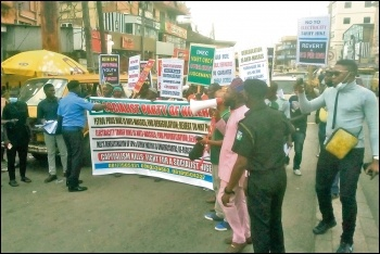Protesting against energy costs and attacks on democratic rights in Nigeria, photo by Socialist Party of Nigeria