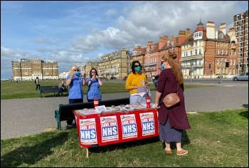 Socialist Party stall ready on the seafront for the demo, 12 Sept 2020, Brighton