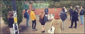 A Birmingham Socialist Students street meeting, socially distanced