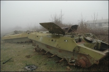 Azeri tanks in Nagorno-Karabakh from a previous conflict, photo