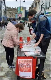 A Socialist Party stall in Newcastle, October 2020