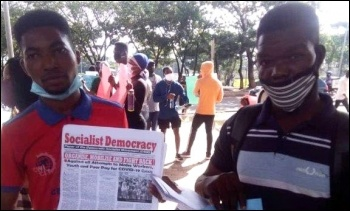 Members of Democratic Socialist Movement in Nigeria (a sister organisation of the Socialist Party in England/Wales) on the streets in Abuja during the current protests