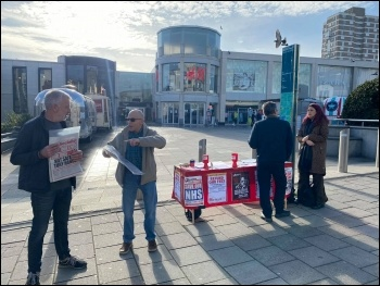 Brighton Socialist Party stall 7 November 2020, photo Glenn Kelly