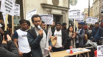 Unison general secretary candidate and Socialist Party member Hugo Pierre speaking during an anti-racism demo in 2017.  Click here for the latest article in the Socialist on the general secretary contest
