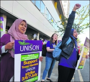 Tower Hamlets workers striking against the Labour council's 'fire and re-hire' policy