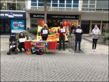 Socialist Party members in Plymouth supporting a protest outside Debenhams