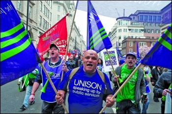 Local authority workers protesting against austerity in 2016, photo: Paul Mattsson