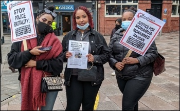Protesting in Cardiff  following the death of Mohamud Mohammed Hassan, photo Cardiff SP