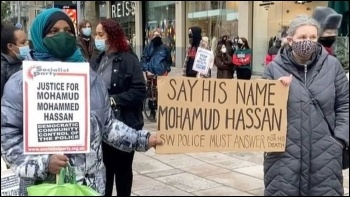 Protesting in Cardiff  following the death of Mohamud Mohammed Hassan, photo by Cardiff SP
