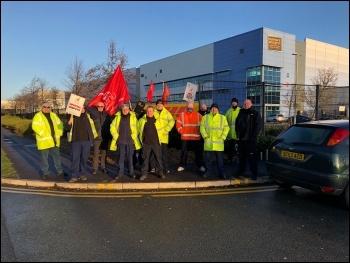 DHL workers' strike Merseyside January 2021, photo Unite North West/Twitter