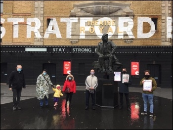 Protest outside Stratford Circus, east London, January 2021