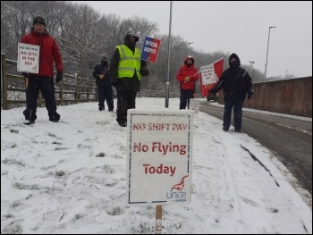 Yorkshire aerospace engineers strike February 2021, photo Iain Dalton
