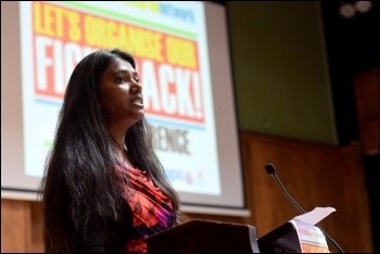 Lawanya speaking at the conference of the National Shop Stewards Network, Mary Finch