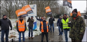 British Gas workers' on strike in Leicester February 2021, photo Steve Score