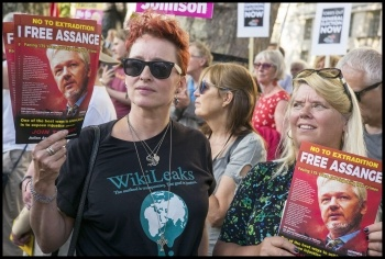 'Free Assange' campaigners at the Durham miners' gala in 2019 , photo by Paul Mattsson