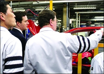 Former Tory chancellor George Osborne visits the Toyota plant in Burnaston, Photo HM Treasury/CC