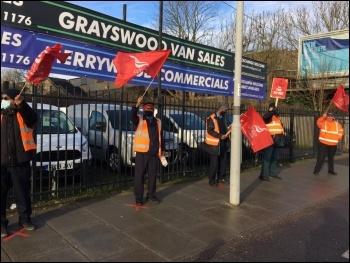 London bus strikers February 2021, photo London SP