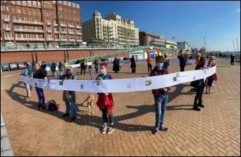 Protesting against domestic abuse service closures in Brighton. Photo Brighton SP