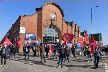 Picket line in Manchester. Photo: Unite North West
