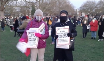 Socialist Party members in Hackney on a vigil following the murder of Sarah Everard, London