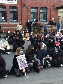 Protesting in Cardiff, photo SP Wales