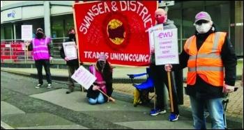 Picket line in Swansea. Photo: Socialist Party Wales