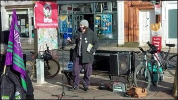 Iain Dalton speaking at the York rally
