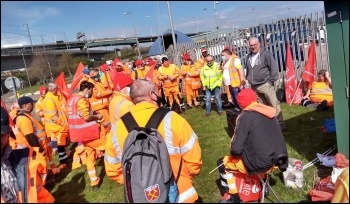 Thurrock council workers striking against pay cuts, photo by Dave Murray