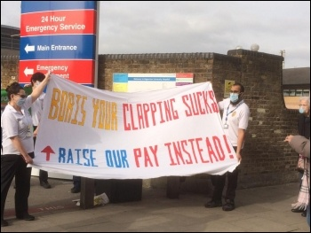 NHS pay campaigning, photo Christine Thomas