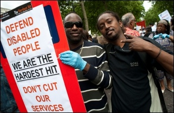 Disabled workers protesting. Photo Paul Mattsson