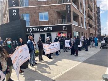 Protesting at Bellway Housing 1 May 2021